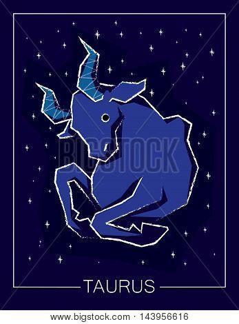 Zodiac sign Taurus on night starry sky background. Vector illustration.