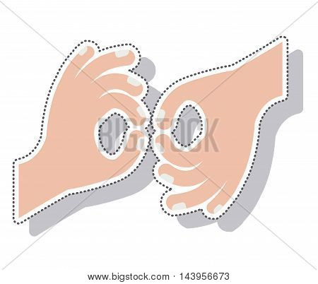 hands language signs isolated icon vector illustration design