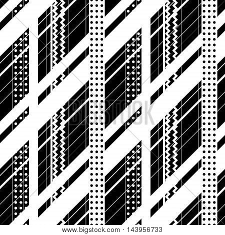 Seamless vector black and white geometrical pattern.