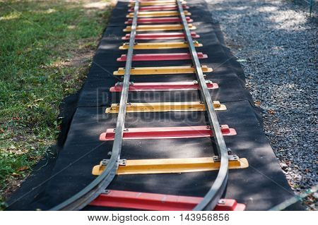 children mini railway with colorful domes outdoor.