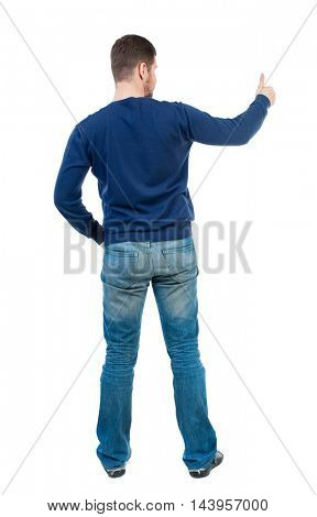 Back view of  business man shows thumbs up.   Rear view people collection. cheerful office worker shows positive emotions.  backside view of person.  Isolated over white background. bearded man in
