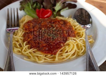 The Spaghetti in pork hot and spicy.