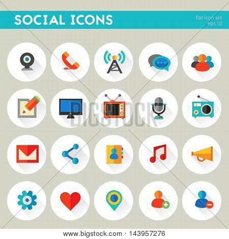 Flat detailed social colored icons on circles