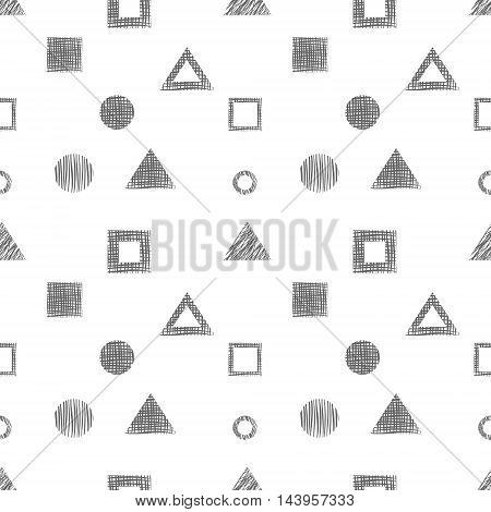 Seamless vector black and white geometrical pattern. Endless background with different hand drawn geometric figures.