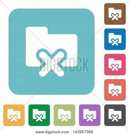Flat cancel folder icons on rounded square color backgrounds.