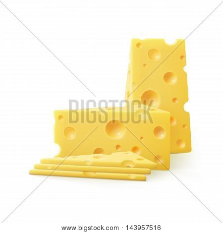 Vector Triangular Sliced Pieces of Swiss Cheese Close up Isolated on White Background