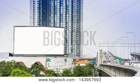 Blank billboard for outdoor advertising poster for advertisement. Blank billboard on highway.