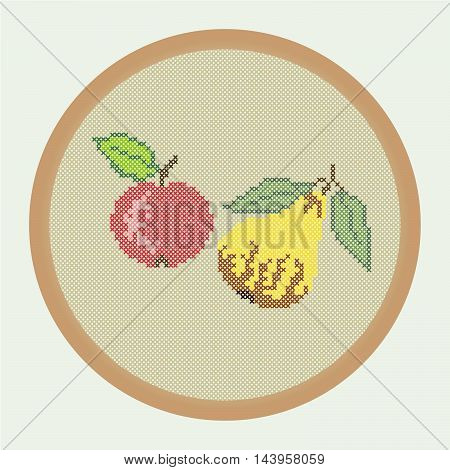 Embroidery red apple and yellow pear. Vector illustration: the apple and pear which is creed stitched in a round frame