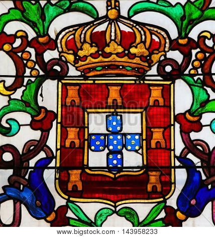 Stained Glass In Batalha Monastery - Coat Of Arms Of King John I Of Portugal