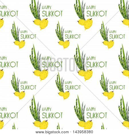 Sukkot pattern with Lulav , Etrog, Arava and Hadas traditional symbols date palm, citron, willow, myrtle. Jewish Holiday. Four species.