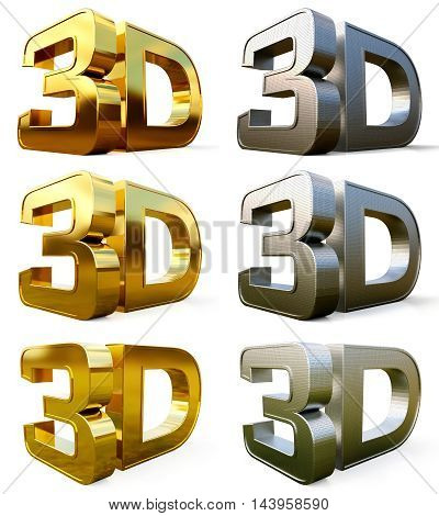 Set metal 3D logo isolated on white background with reflection effect. 3d illustration