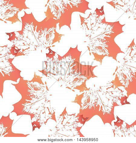 Red maple leaves imprints seamless pattern on white background