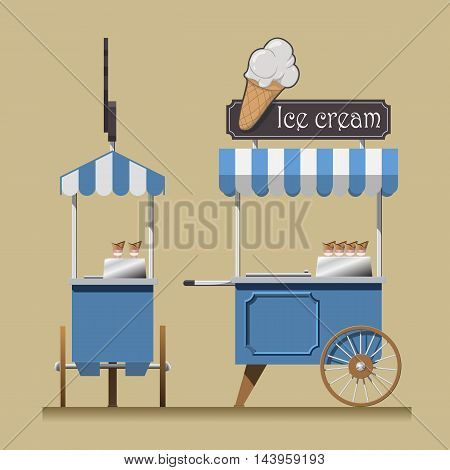 Retro ice cream cart. ice cream shop on wheels. retro cart vector illustration