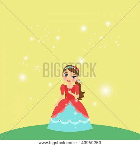 Beautiful cartoon princess with lights on the yellow background. Vector illustration