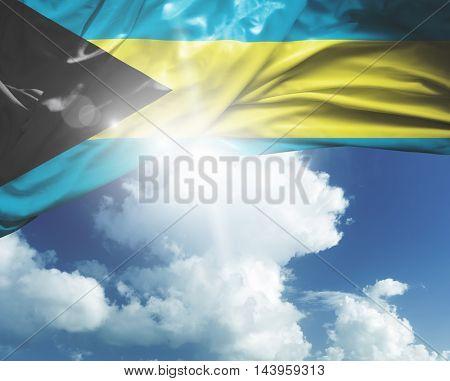 Bahamas flag on a beautiful day