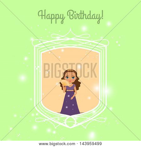 Happy Birthday green greeting card with fairy princess. Vector illustration