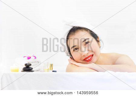 Close-up Asian woman beautiful woman in spa salon.