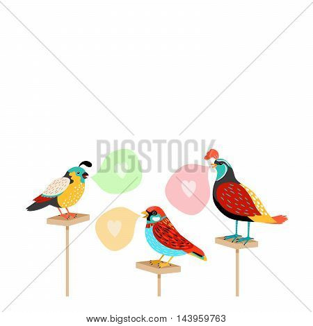 Song birds with speech bubbles and hearts. Vector illustration