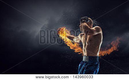 Box fighter trainning outdoor . Mixed media