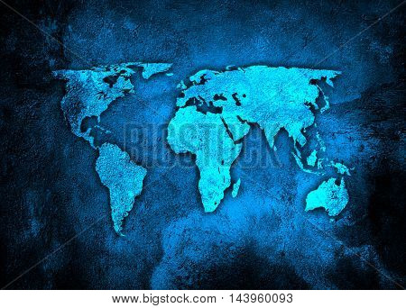 world map on blue concrete wall background