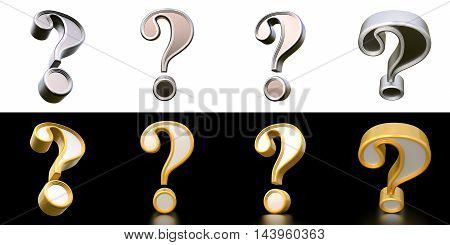 Set Question Mark. Isolated On Background. 3D Rendering.