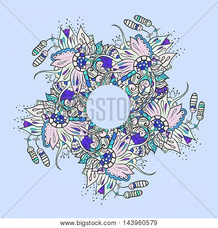 Abstract floral doodle background pattern. A circular blue ornament. Color vector illustration
