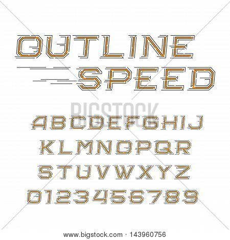 Outline speed alphabet font. Oblique letters and numbers in line style. Vector typeface for your design.