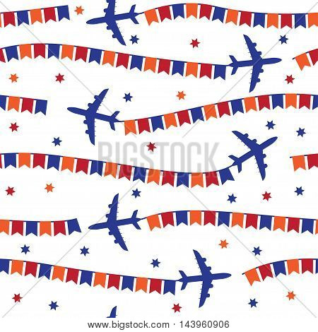 Cartoon airplane with colorful flags seamless pattern, background, vector texture can be used for wallpaper, pattern fills, web page, background, surface.
