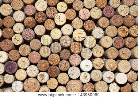 pattern of used wine bottles corks background closeup
