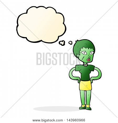 cartoon halloween girl with thought bubble