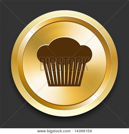Cupcake on Golden Internet Button Original Illustration