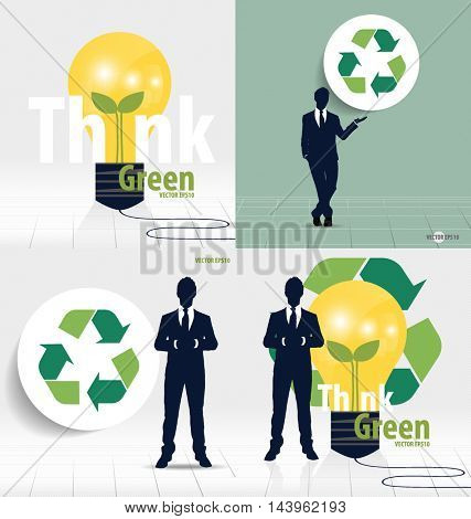Businessman and Recycle symbol. Vector symbol on the packaging, vector Illustration