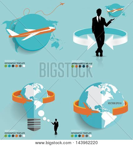 Modern infographics template style with plane. Vector illustration