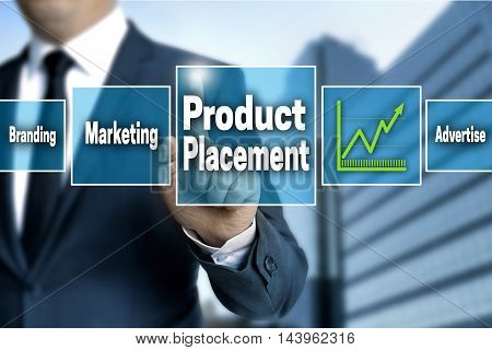 Product Placement touchscreen is operated by businessman.