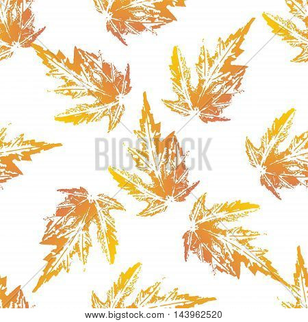 Yellow orange maple leaves imprints seamless pattern on white background