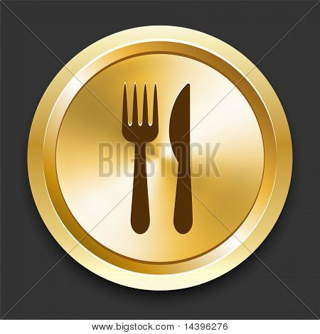 Knife and Fork on Golden Internet Button Original Illustration