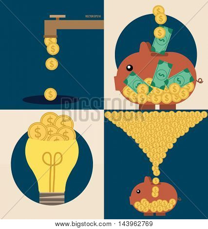 Business concept. Light bulb and Piggy bank with money coins. Vector illustration