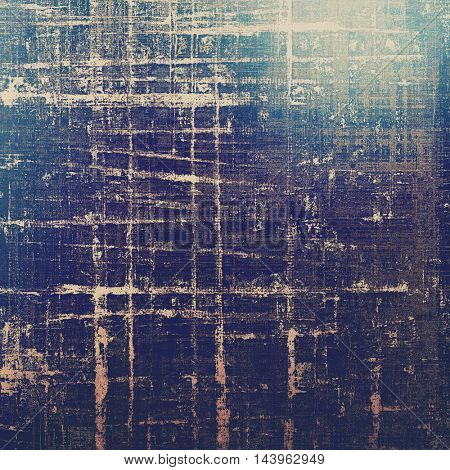 Abstract scratched background or frame with weathered grunge texture. Ancient style backdrop with different color patterns: gray; blue; purple (violet); yellow (beige); brown; black