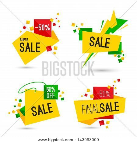 Set of super sale and final sale banners. Vector illustration.