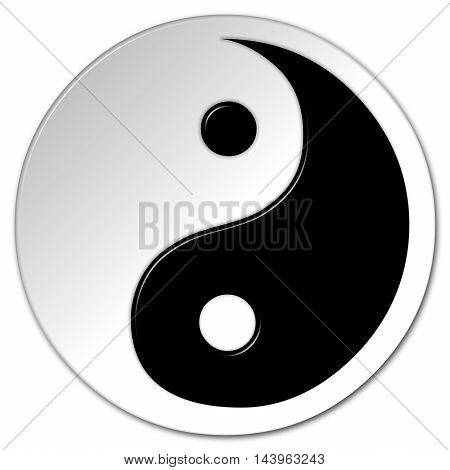 Yin and Yang 3D illustration symbol in black and white with a bevel effect on an isolated white background and a clipping path