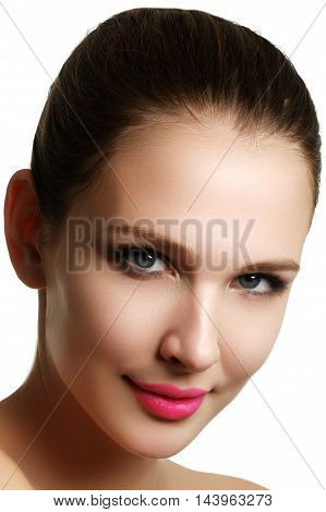 Beautiful Model Woman Face With Blue Eyes And Perfect Make-up Is