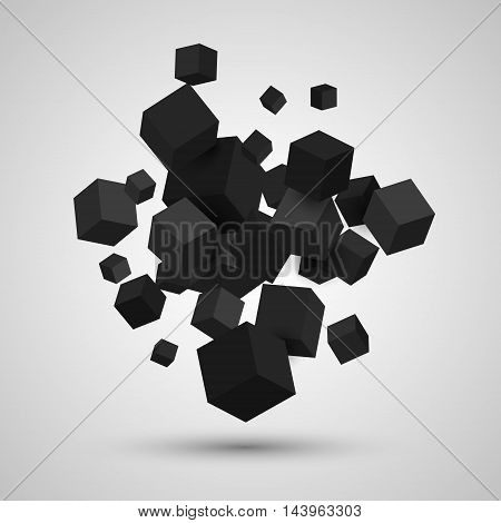 3d cubes, Vector geometric background with black cubes