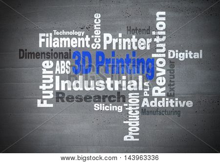3d Printing Industrial Revolution word cloud konzept.