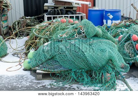 professional fishing net in the harbour ready to go out with the boat and catch the fish