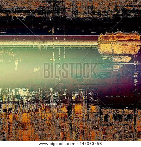 Vintage texture or antique background with grunge decorative elements and different color patterns: green; red (orange); purple (violet); yellow (beige); brown; black