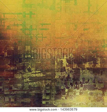 Scratched vintage texture, grunge style frame or background. With different color patterns: gray; green; red (orange); purple (violet); yellow (beige); brown