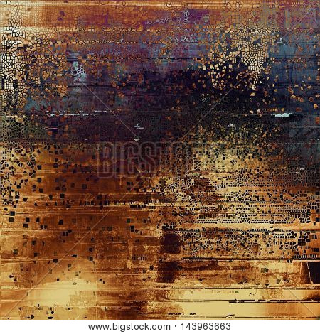 Antique texture, weathered background with vintage look and different color patterns: blue; red (orange); purple (violet); yellow (beige); brown; black