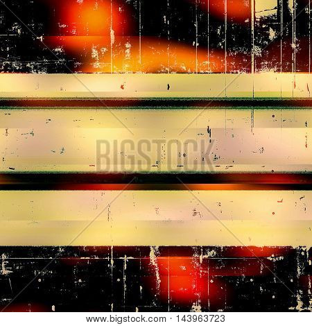Damaged retro texture with grunge style elements and different color patterns: green; red (orange); yellow (beige); brown; black; pink