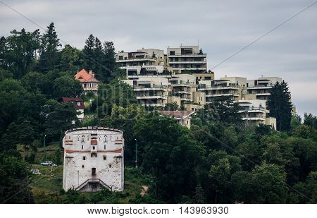 White Tower and apartment houses in Brasov city in Romania