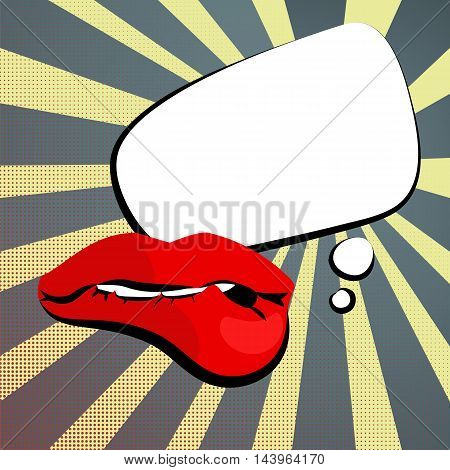 Vector colored icons sexy womens shiny red lips bite lip white teeth white cloud rectangle rounded corners background vintage comment retro style pop art. Illustration hand drawn